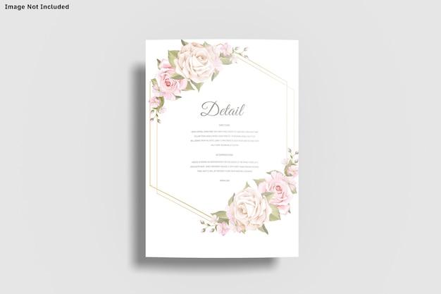 Szablon karty zaproszenia ślubne na białym tle