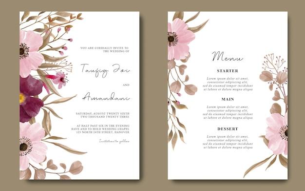 Szablon karty zaproszenia ślubne z akwarelową dekoracją kwiatową