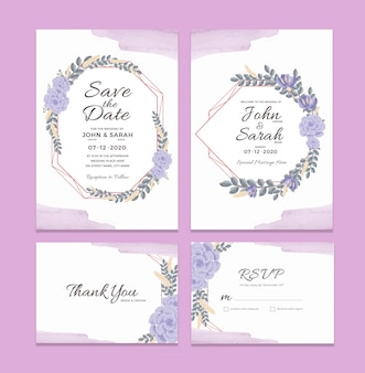 Szablon karty zaproszenia ślubne z dekoracjami w ramce akwarela kwiatowy