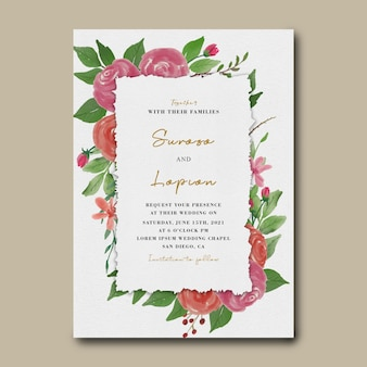 Szablon karty zaproszenie na ślub z akwarela dekoracje kwiatowe