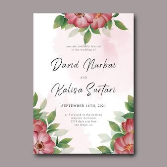 Szablon karty zaproszenie na ślub z akwarelowymi dekoracjami kwiatowymi i akwarelą