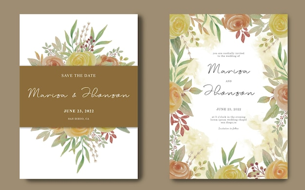 Szablon karty zaproszenie na ślub z ramą bukiet kwiatów akwarela