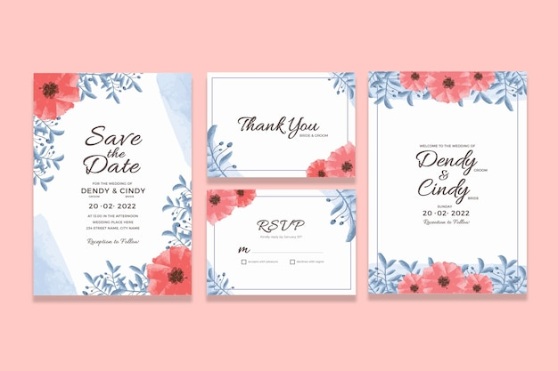 Szablon karty zaproszenie ślubne z dekoracjami akwarela kwiatowy