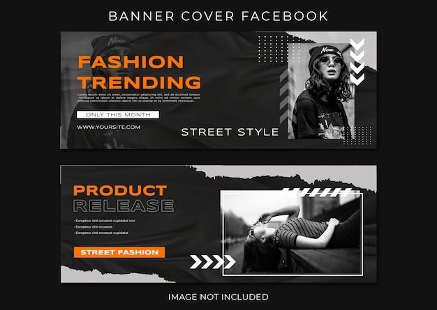 Szablon kolekcji trendów mody na baner facebook
