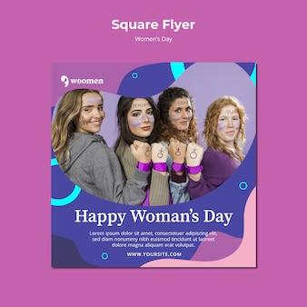 Szablon kolorowe kwadratowe ulotki dzień kobiet