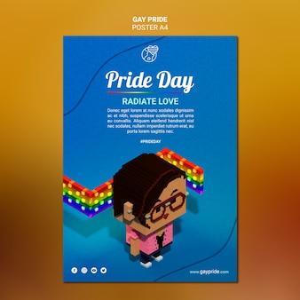 Szablon kolorowy plakat dumy gejowskiej