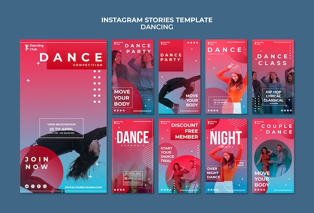 Szablon kolorowy taniec instagram historie