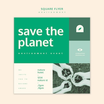Szablon koncepcji kwadratowych ulotki środowiska