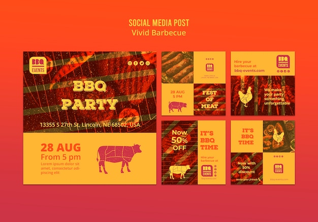 Szablon koncepcji mediów społecznościowych grill
