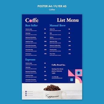 Szablon koncepcji plakat kawy