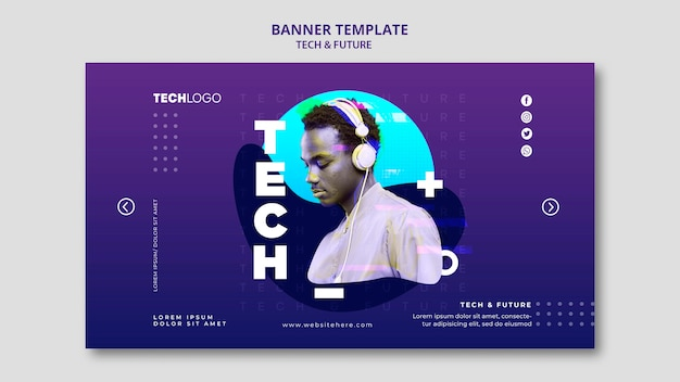 Szablon koncepcji szablon technologii i przyszłości banner
