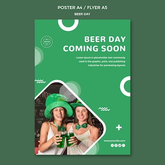 Szablon koncepcji ulotki dzień piwa