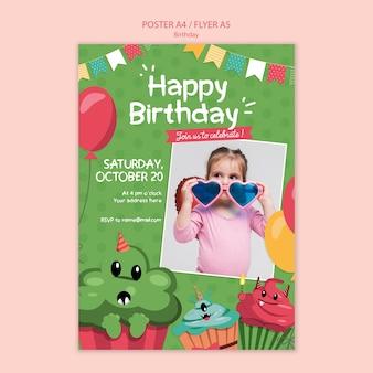 Szablon koncepcji ulotki urodziny