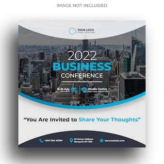 Szablon konferencji biznesowej instagram post lub szablon flyer square
