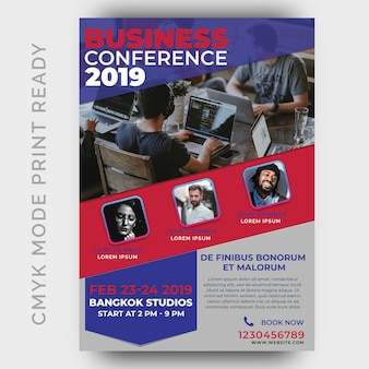 Szablon konferencji biznesowych dla plakat, ulotka, strona magazynu