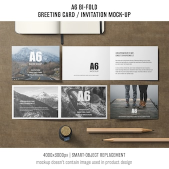 Szablon kreatywny a6 bi-fold zaproszenia karty