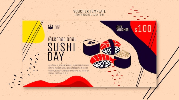 Szablon kreatywny sushi kupon