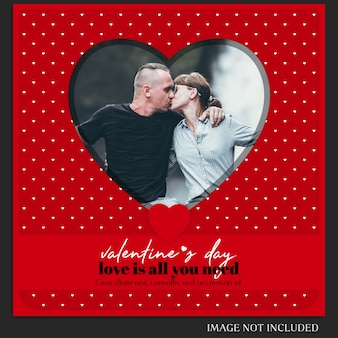 Szablon kreatywnych nowoczesny romantyczny walentynki instagram post i makieta zdjęcie