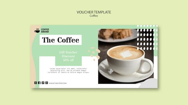 Szablon kuponu koncepcja kawy