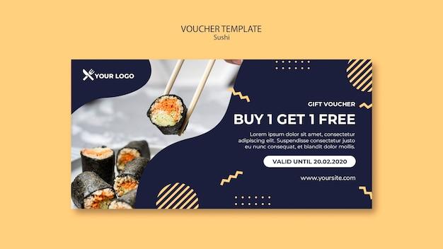 Szablon kuponu koncepcja sushi