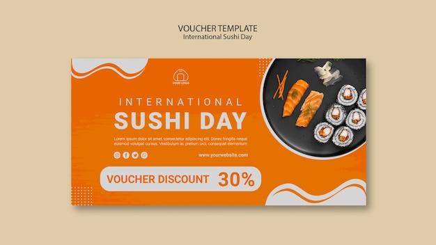 Szablon kuponu międzynarodowy dzień sushi
