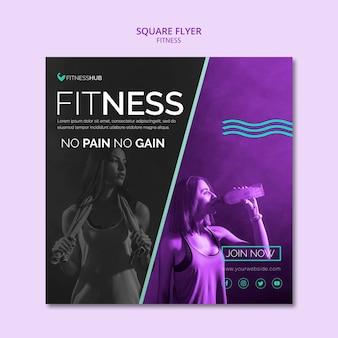 Szablon kwadratowych ulotki fitness