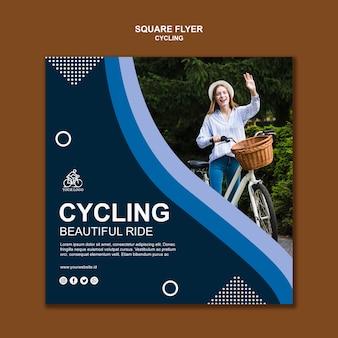 Szablon kwadratowych ulotki na rowerze
