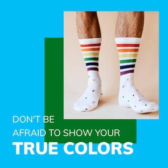 Szablon lgbtq pride month psd prawa gejów wspierają posty w mediach społecznościowych
