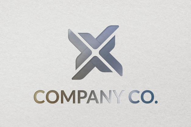 Szablon logo firmy company co. psd w wytłoczonej fakturze papieru