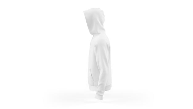 Szablon makieta biała bluza z kapturem na białym tle, widok z boku
