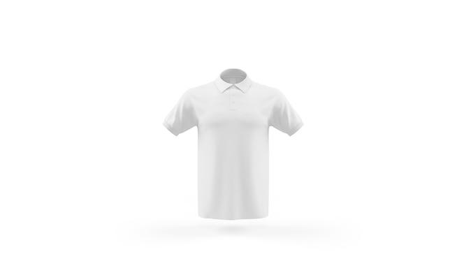 Szablon makieta biała koszulka polo na białym tle, widok z przodu
