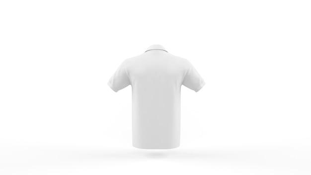 Szablon makieta biała koszulka polo na białym tle, widok z tyłu