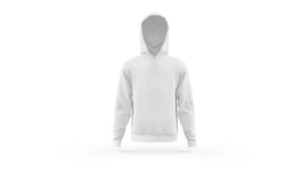 Szablon makieta biały bluza z kapturem na białym tle, widok z przodu