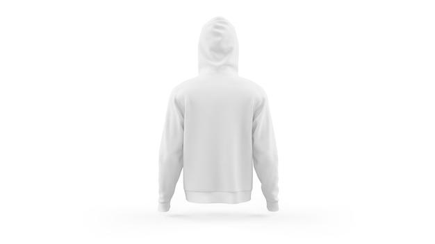 Szablon makieta biały bluza z kapturem na białym tle, widok z tyłu
