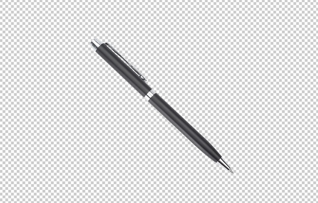 Szablon makieta czarny metalowy długopis do projektowania.