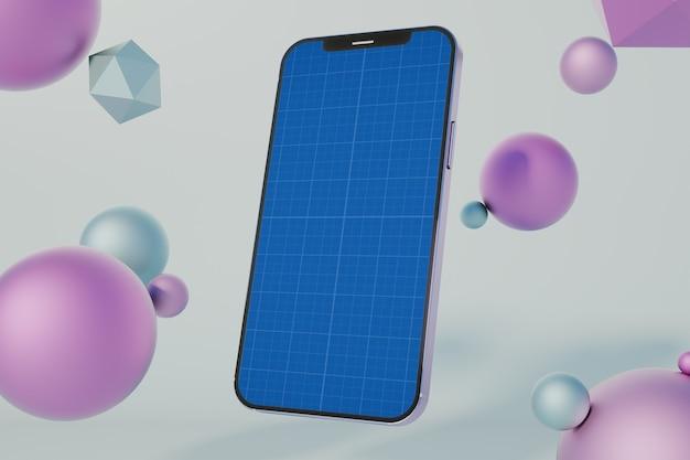 Szablon makiety bąbelków smartfona