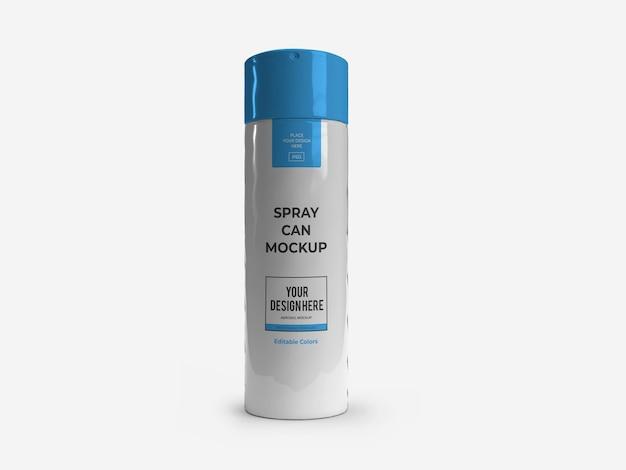 Szablon makiety butelki aerozolu dezodorantu na białym tle