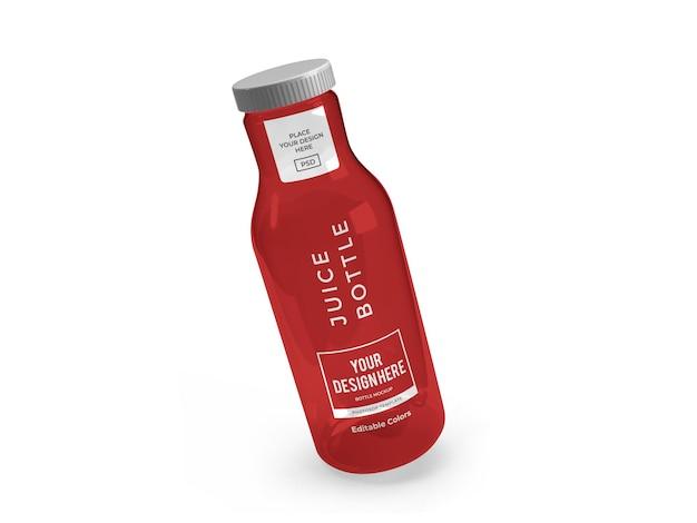 Szablon makiety butelki soku na białym tle