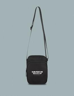 Szablon makiety czarnej torby kieszonkowej do projektowania.