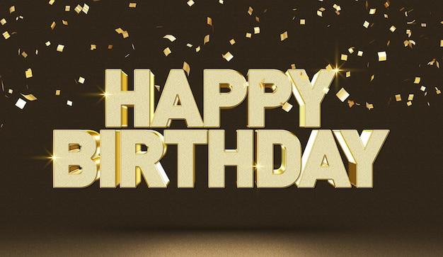 Szablon makiety efektu stylu tekstu 3d z okazji urodzin