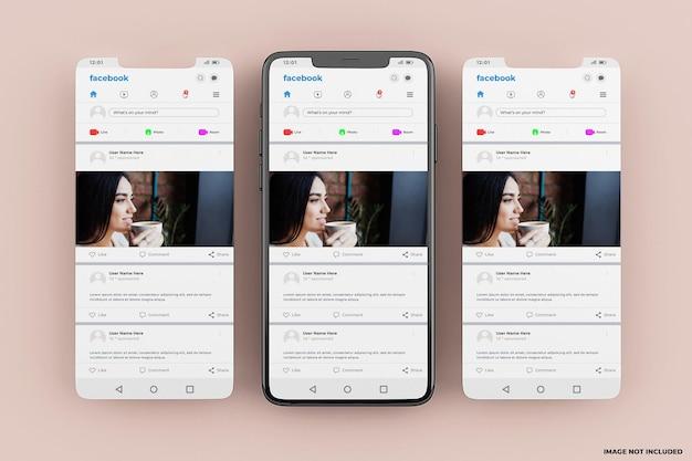 Szablon makiety interfejsu mobilnego facebook