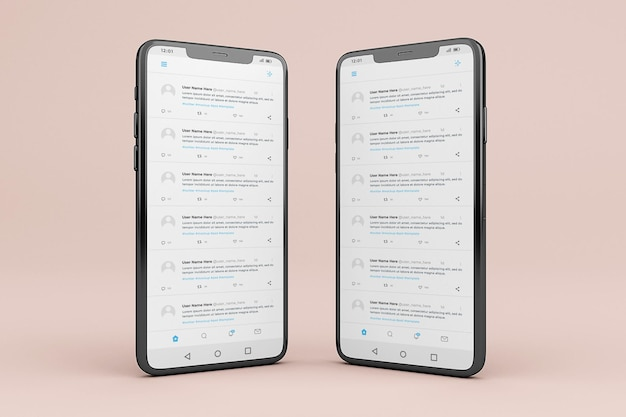 Szablon makiety interfejsu mobilnego twittera
