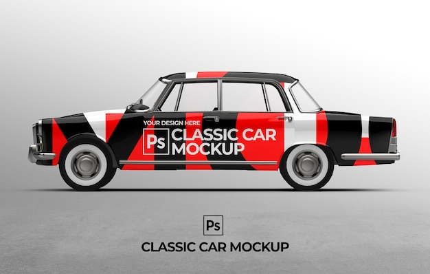Szablon makiety klasycznego samochodu 3d do brandingu i prezentacji reklamowych