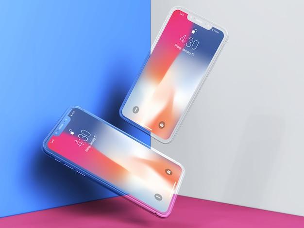 Szablon makiety kreatywnych smartfonów