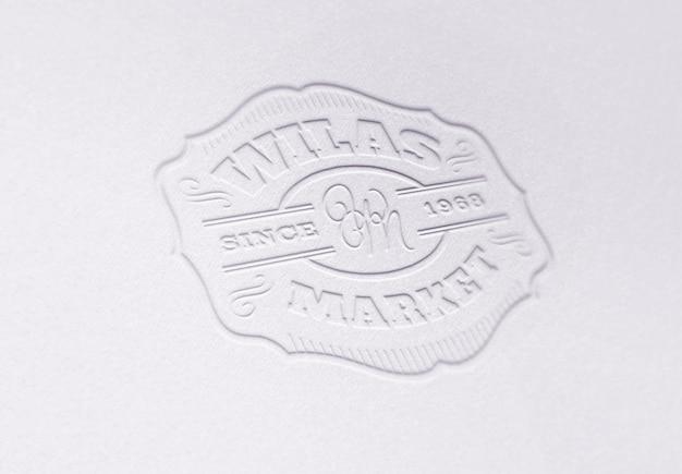 Szablon makiety logo lub tekstu. papier tłoczony