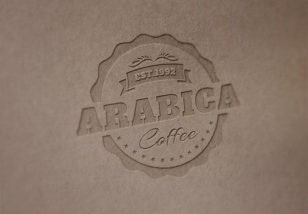 Szablon makiety logo lub tekstu. tłoczony ciemny papier