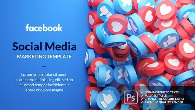 Szablon marketingowy na facebooku w renderowaniu 3d