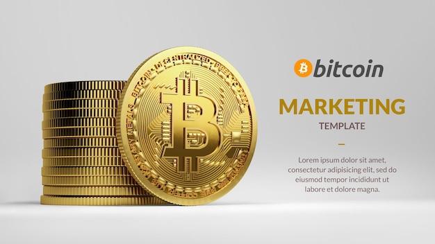 Szablon marketingu bitcoin ze stosem bitcoinów na białym tle renderowania 3d