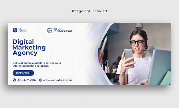 Szablon marketingu cyfrowego okładka facebook banner