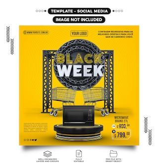 Szablon media społecznościowe kanał odliczanie czarnego tygodnia